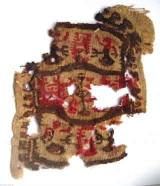 Circa.  1100 A.  D English Early Medieval Period Garment Section Of Heraldic Design photo