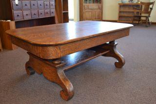 Antique Empire Tiger Quarter Sawn Oak Victorian American Coffee Table photo