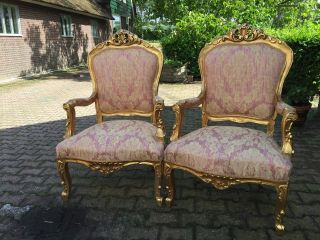 Antique French Two Chairs In Louis Xvi Style photo