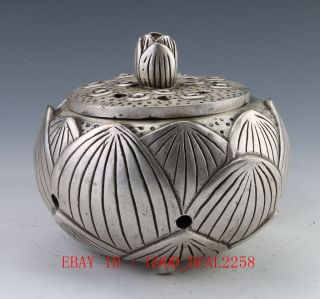 Chinese Silver Include Copper Vintage Hand Hammered Old Flower Incense Burner photo