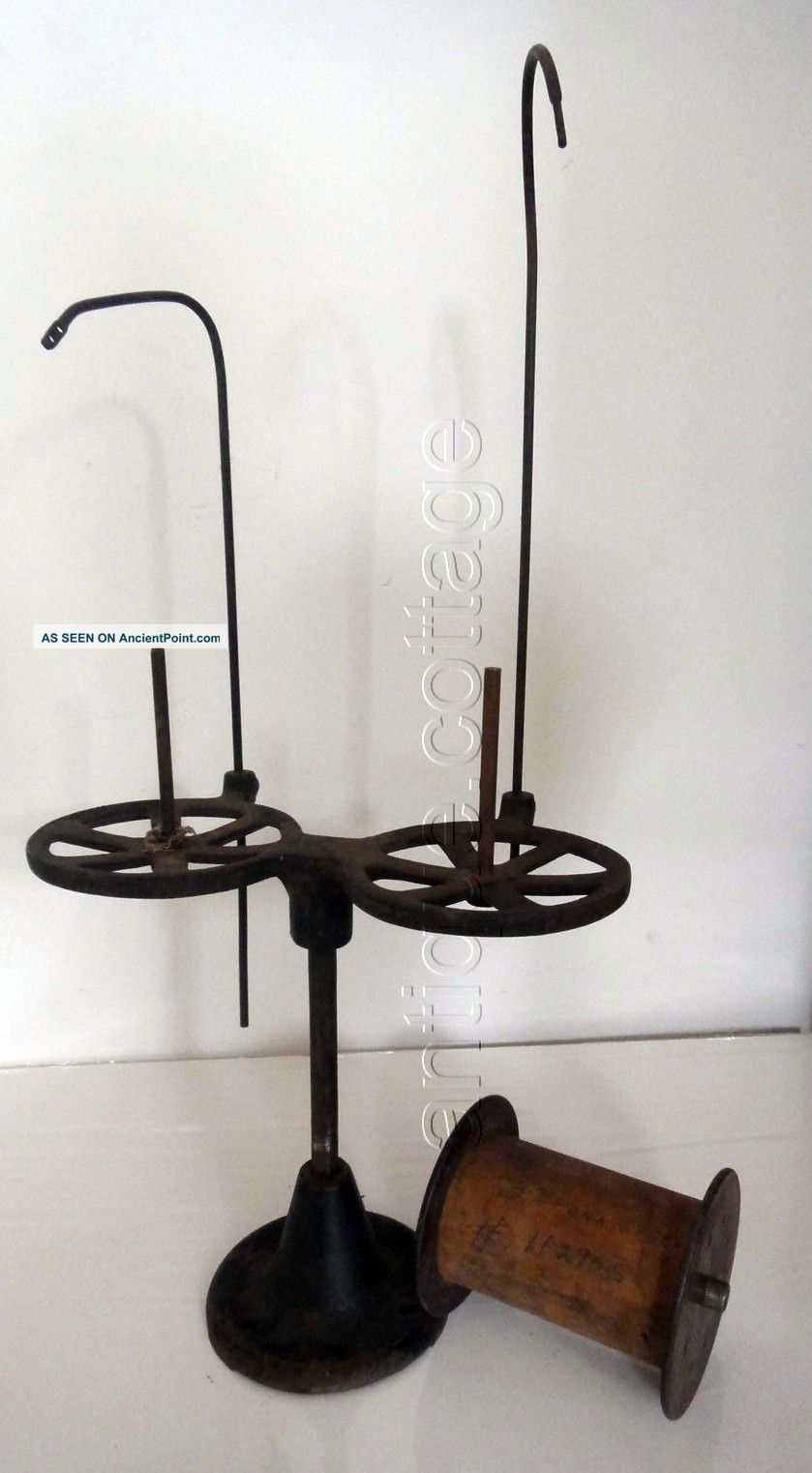 1800s Antique Cast Iron Sewing Machine Thread Holder W Sapona Mfg Spool String Other Antique Sewing photo