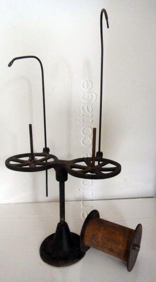 1800s Antique Cast Iron Sewing Machine Thread Holder W Sapona Mfg Spool String photo