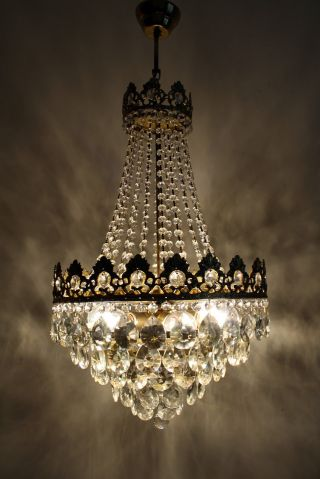 Large Antique French Basket Style Brass & Crystals Chandelier Ceiling Lamp photo
