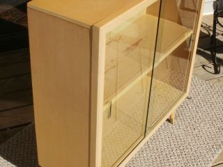 Modern Mid Century Danish Blonde Wood Bookcase Cabinet With Glass Sliding Doors photo