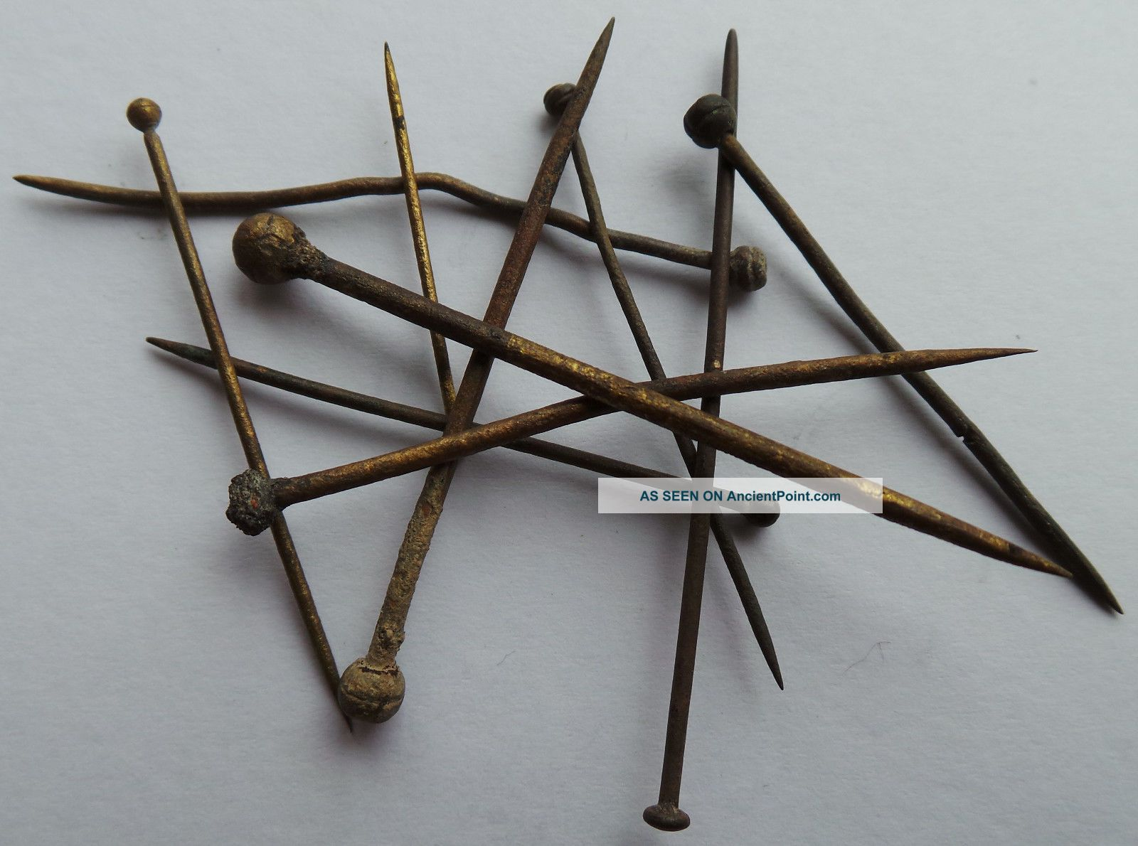 10 Hand Made Brass Pins From The 16th.  Century With Wrapped Heads. Needles & Cases photo