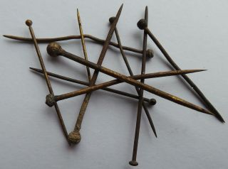 10 Hand Made Brass Pins From The 16th.  Century With Wrapped Heads. photo