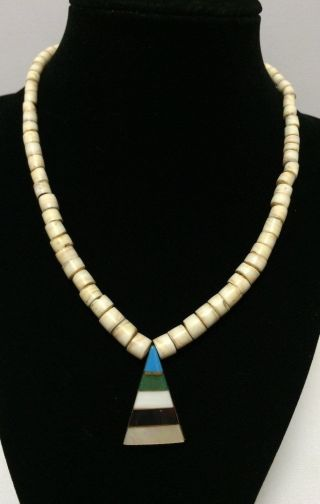 Vintage Natural Shell Disk Necklace With Multi - Stone Pendant photo