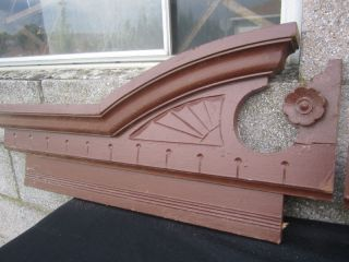 Antique Carved Pediment Oak Walnut Carved photo