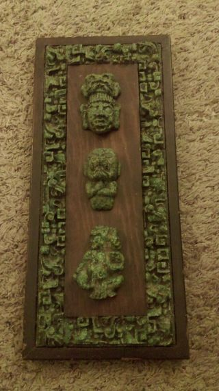 Ancient Mayan Stone Art In Solid Wood Frame photo
