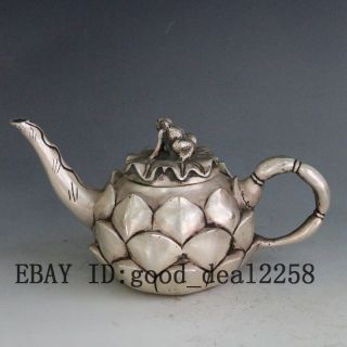 Vintage Oriental Brass Handwork Carved Lotus Teapot & Frog Lid W Kangxi Mark photo