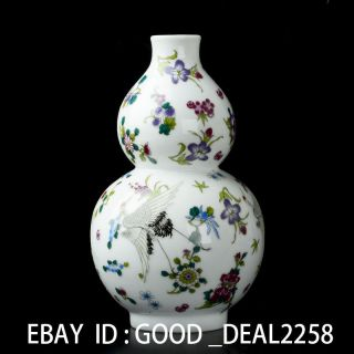 Chinese Famille Rose Porcelain Hand - Painted Noctilucent Vase W Yongzheng Mark photo
