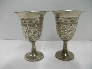 Antique Rare Asian Persian Solid Sterling Silver 2 Goblets 153g/ 5.  39oz. photo