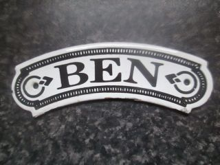 Vintage Dodo Designs (mfrs) Porcelain Enamel Name Plate - Ben photo