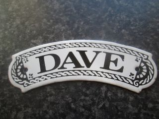 Vintage Dodo Designs (mfrs) Porcelain Enamel Name Plate - Dave photo