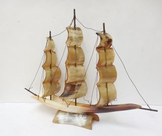 Vintage Model Sail Boat Ship Made Of Cow Horn Brass Hardware Good Cond photo