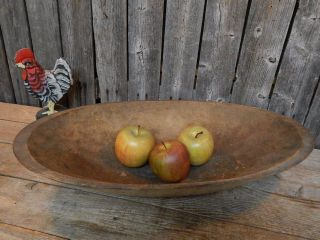 Antique Primitive Vtg Wood Trencher Dough Bowl Old England photo