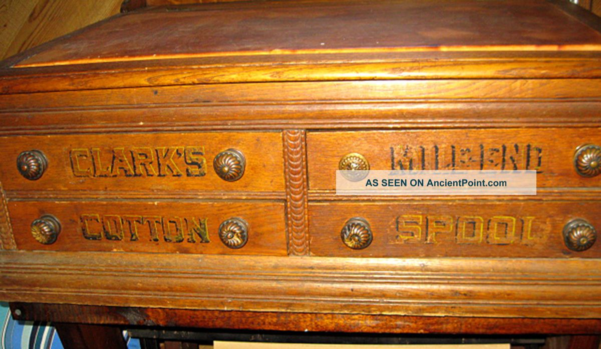 Antique Clarks Mile End Spool Cabinet Cotton Thread Counter Store Display Desk Furniture photo