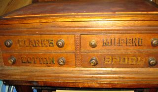 Antique Clarks Mile End Spool Cabinet Cotton Thread Counter Store Display Desk photo