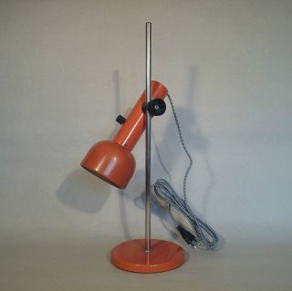 Old Vintage Mid Century Modernist Orange Table Desk Light Lamp Made In Ddr photo