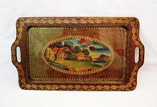 Antique Wooden Pyrography Serving Tray Pokerwork Hand Painted Picture And Glass photo