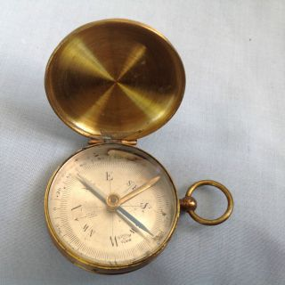 Vintage French Pocket Compass Hunter Type Case photo