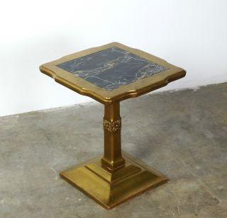 Vintage Mid Century Hollywood Regency Gold Gilt & Marble Pedestal Side Table photo