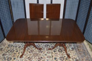 Vintage Ethan Allen Queen Anne Style Cherry Dining Table W/dbl Pedestal Base photo