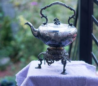 Antique Silverplate Tipping Spirit Kettle,  1850 - 1899 Sheffield; W.  Hutton & Son photo