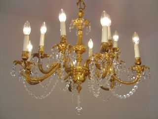 12 Light Rare Crystal Brass Chandelier Chains Vintage Lamp Old Ancient 2x photo