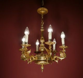 6 Light Gold Bronze Chandelier Vintage Lamp Old Antique Ancient photo
