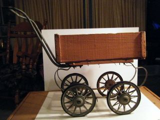 Vintage Carriage Baby Doll Buggy,  Stroller Pram Metal Frame photo