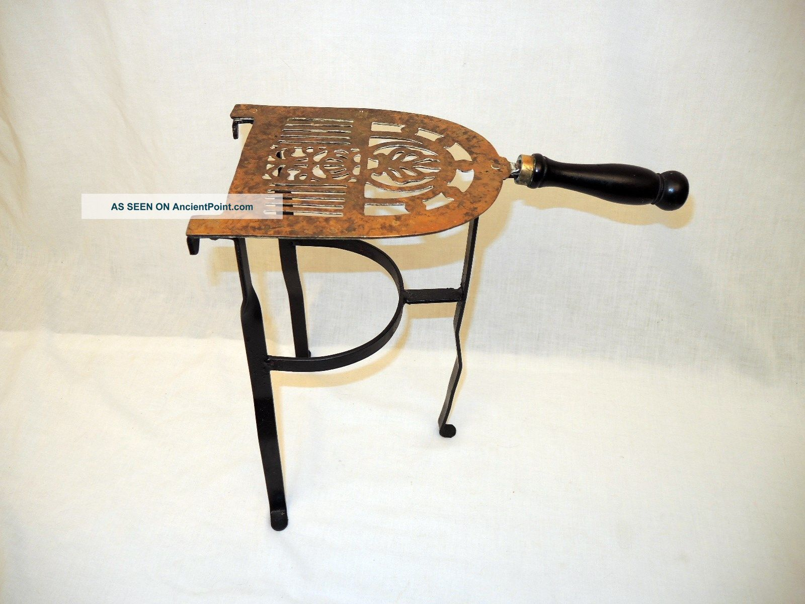 Antique Fireplace Hearth Brass Top Kettle - Pot Warming Stand - 3 Legs Hearth Ware photo