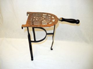 Antique Fireplace Hearth Brass Top Kettle - Pot Warming Stand - 3 Legs photo