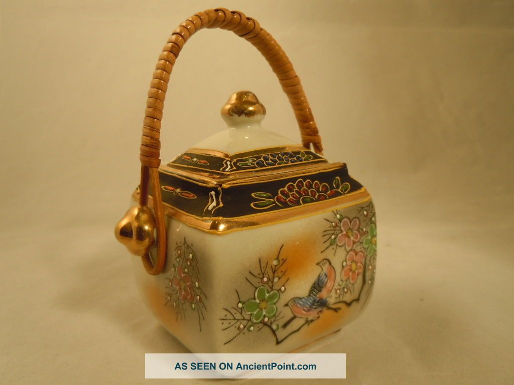 Collectable Japanese Porcelain Tea Sugar Jar Rattan Rhombus With Lid Porcelain photo