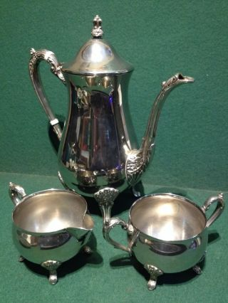 3x Vintage Silver Plated Items M&r & Leonard - Coffee Pot,  Jug & Sugar Bowl photo