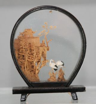 Fantastic Workmanship Vintage Chinese Cork Carving Circa 1960s photo