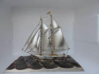 Solid Sterling Silver Yacht Ship Sailboat By Seki Japan Scrap 200 Grams 7 Oz Nr photo