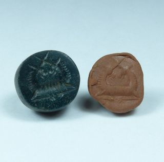 Ancient Carved Hardstone Seal Circa 200ad - photo