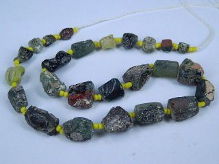 Ancient Fragment Glass Beads Strand Roman 200 Bc Be1304 photo