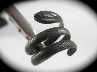 Uncleaned Roman/byzantine Serpent Silver Ring photo