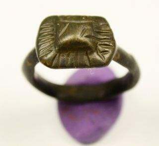 Perfect Ancient Roman Bronze Ring With Pyramid Shaped Bezel - Wearble photo