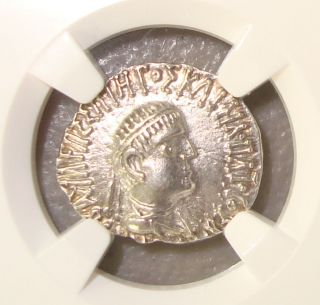 80 - 65 Bc Kingdom Of Bactria Ancient Greek Silver Drachm Ngc Choice Au 4/5 4/5 photo