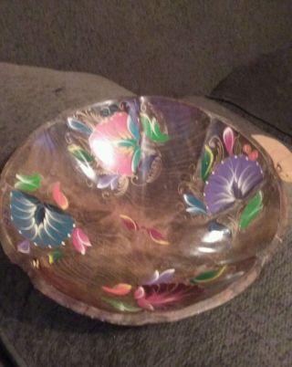 Vintage Hand Painted Mexican Batea Folk Art Wood Bowl photo