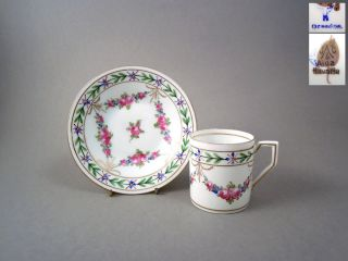 Antique Hand Painted Porcelain Coffee Cup Saucer Duo By Hirsch Dresden C1900 photo