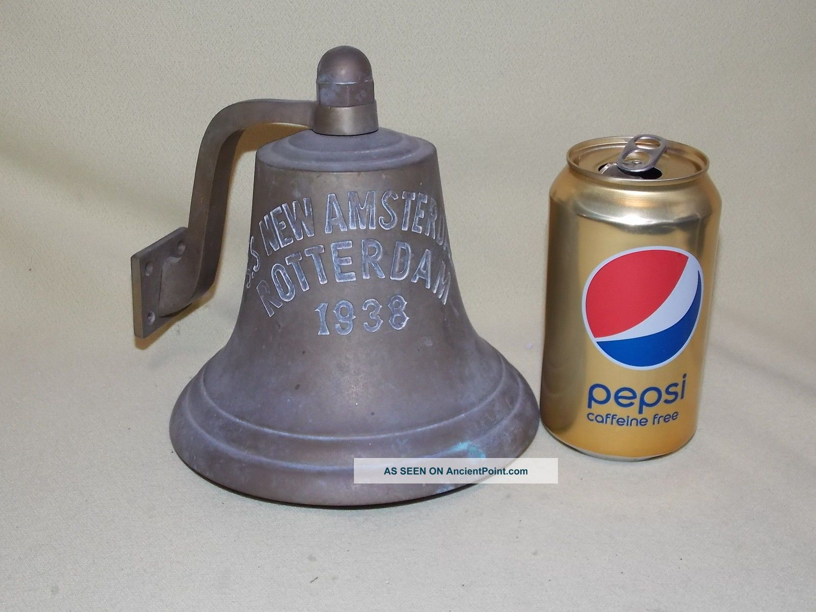 Antique 1938 S S Amsterdam Rotterdam Wall Mount Ships Brass Bell Alarm Bells & Whistles photo