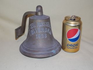 Antique 1938 S S Amsterdam Rotterdam Wall Mount Ships Brass Bell Alarm photo