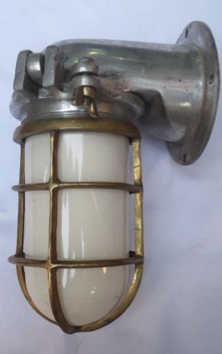 Marine Aluminium And Brass Ship Wall Passage Light 1 Pc.  (with Milky Glass) photo
