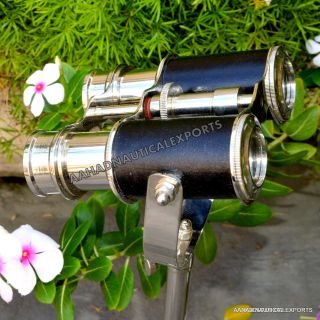 Brass Telescope W Tripod Vintage Binocular Black Leather Handmade Lovely Gift, . photo