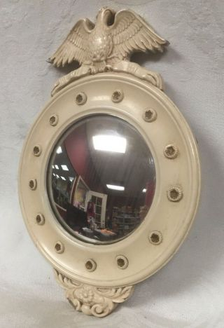Vintage Federal Convex Mirror With Federal Eagle 13 Stars Wood Frame photo