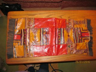 Old Canadian Indian Leather Parfleche / Pouch Hand Painted photo
